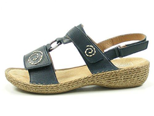 Rieker 65863 Schuhe Damen Sandalen Blau