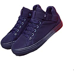 Weboth Men Flat Heel Black Shoes Brand Casual Shoes Blue 8.5