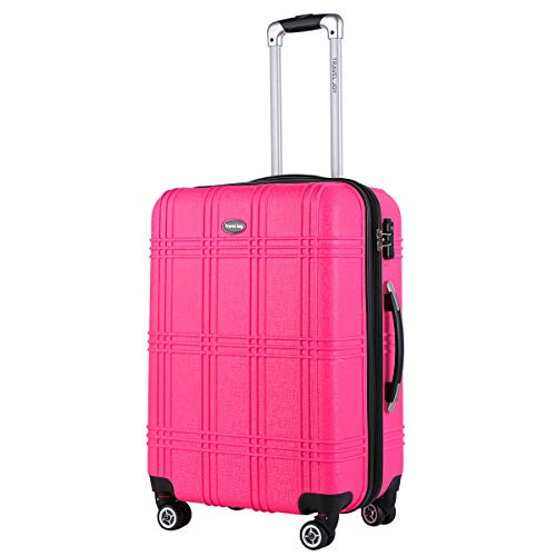 Expandable Spinner Luggage Set,TSA lightweight Hardside Luggage Sets, 20' 24'28 inches Luggage (HOT PINK-1, 20 inches) (HOT PINK-1, 1 pc carryon (20'))
