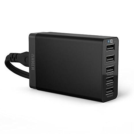Amazon.com: 25W 5 puertos USB cargador de escritorio con ...
