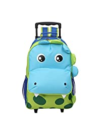 Yodo Upgraded Large Convertible 3-Way Kids Suitcase Rolling Luggage or Toddler Backpack with Wheels, Large Front Quick Access Pouch for Snacks or Knickknacks, Dinosaur