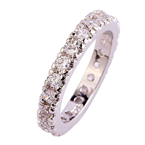 (Veunora 925 Sterling Silver Created White Topaz Filled Stacking Eternity Love Promise Ring Band Size 11)