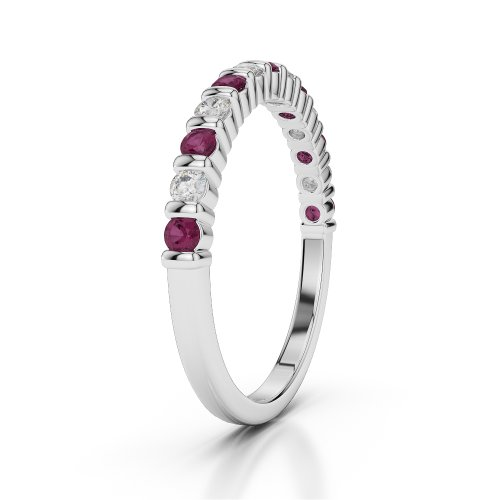 G-H/VS 0,33 CT Coupe ronde Certifié Rubis et diamants en platine 950 Agdr-1095