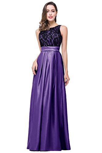Babyonlinedress A-line open back lace satin pruple elegant bridemaid dress