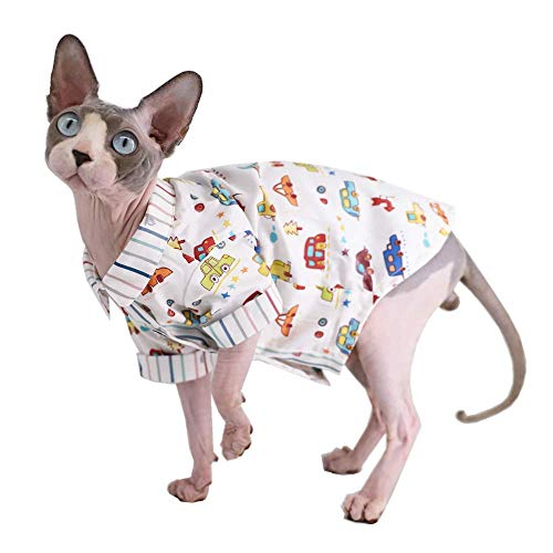 Sphynx Hairless Cat Breathable Summer Cotton Shirts Pet Clothes, Crown/Stripe/Car Pattern Button Kitten T-Shirts with…