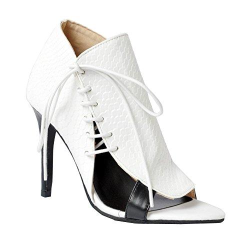 Kolnoo Womens Fashion Handmade Lace-up Nubuck Leather Peep Toe Elegant Style High Heel Party Pumps White