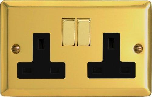 Varilight - 2 Gang 13 Amp Double Switched Socket Victorian Brass - XV5DB by Varilight