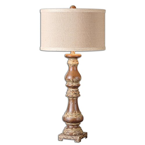 - Solid Wood Candlestick Table Lamp | Distressed Pecan Turned
