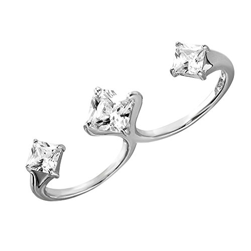 Exquisite Sterling Silver Rhodium Plated Two-Finger Open Ring with 3 CZ Accent Caps ()
