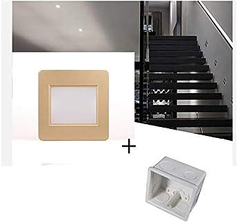 HNZZN Luz de escalera LED con sensor de ra100V-240V 1.5W cuadrados empotrados lámparas de