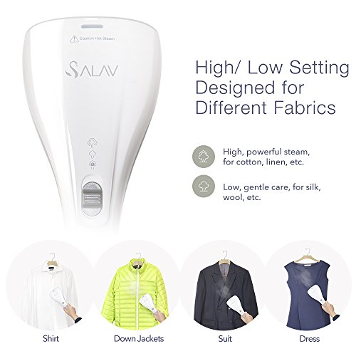 SALAV StrongFastContinuous Dry Steam Ready in 35s Portable Handheld Travel Steamer Lightweight with Dual Heat with Brush