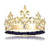 DcZeRong Adult Men King Crown Birthday Crown Prom King Crown Homecoming King Rhinestone Crown Gold