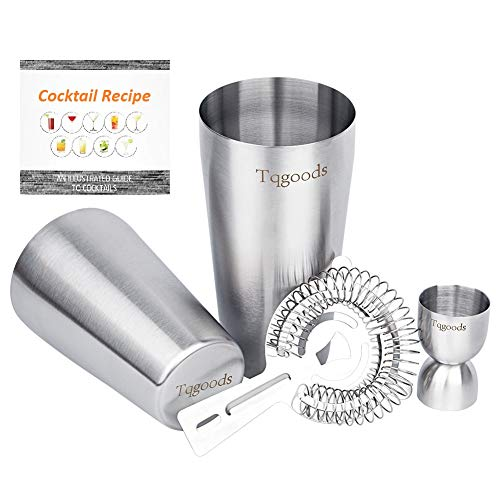 Spoon Steel Boston Stainless (Cocktail Shaker Set for Professional Bartender and Home Bar including 26oz & 20oz Boston Shaker, Strainer and Measuring Jigger ( 4 Piece Set ) / Bonus Cocktail Recipe (ebook) by Tqgoods)