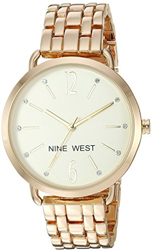 Watch Crystal Gold Links Color (Nine West Women's Quartz Stainless Steel and Alloy Dress Watch, Color:Gold-Toned)