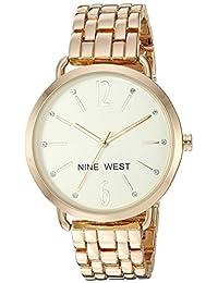 Nine West - Reloj de pulsera para mujer con cristales acentuados, Dorado