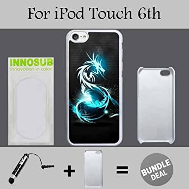 Neon Blue Dragon Custom iPod 6/6th Generation Cases-Black-Plastic, Bundle 2in1 Comes with Custom Case/Universal Stylus Pen by innosub