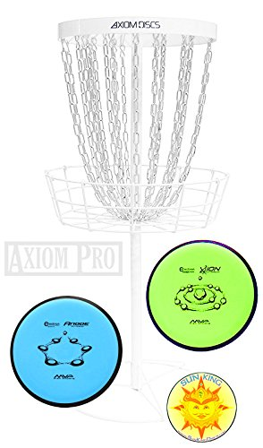 Axiom Pro Disc Golf Basket (White) + 2 Discs + Sun King Sticker by Axiom