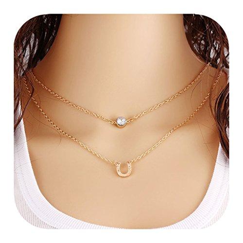 Defiro Layered Necklaces Pendant Good Luck Horseshoe Rhinestone Necklace for Women Jewelry