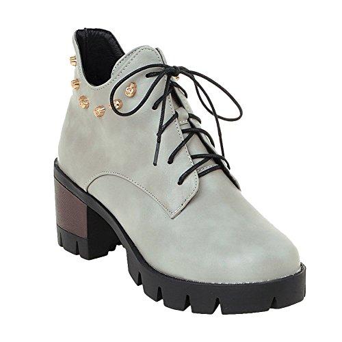 Carolbar Da Donna Con Tacco A Lacci A Forma Di Teschio Con Plateau Tacco Basso Martin Boots Grigio