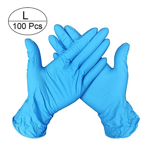 100 Pcs Crystal Nitrile Disposable Gloves Powder Free Ambidextrous Food Grade Gloves Light Blue Large Size