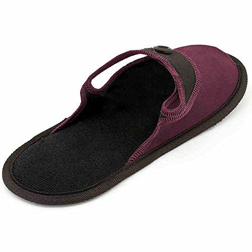 TRAVELMALL Unisex Hausschuhe Reise Faltbar Tragbar rutschfest Hausschuhe Schuhe Strand faltbar mit Tragetasche L schwarz Rot