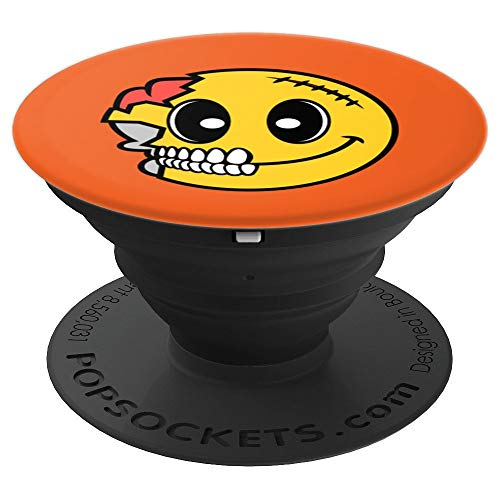 Cute Scary Halloween Smiley Skull Art Costume Emojis Gift - PopSockets Grip and Stand for Phones and Tablets -