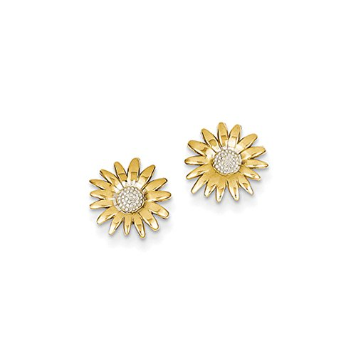 10mm Two Tone Sunflower Post Earrings in 14k Yellow Gold (14k Gold Sunflower Yellow)