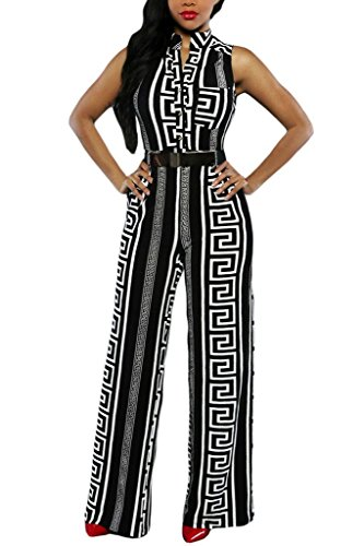 Button Front Jumpsuit - HOTAPEI Women V Neck Button Sleeveless Wide Leg Jumpsuit with Belt Small Multicolored2