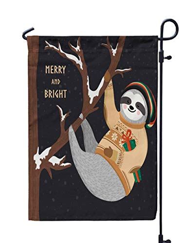 Shorping Open Garden Flag, 12x18Inch Hipster Funny Sloth Hanging on The Tree and Holding Gift Box Cute Baby for Holiday and Seasonal Double-Sided Printing Yards Flags]()