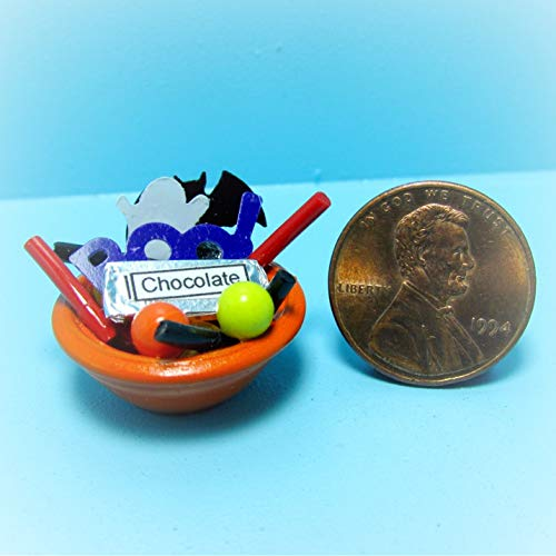 Dollhouse Halloween Trick Treat Goodie Bowl Filled KL1855 - Miniature Scene Supplies Your Fairy Garden - Doll House - Outdoor House Decor ()