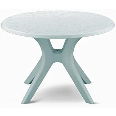 """46"""" Kettalux Plus Dining Table with Umbrella Hole Finish: White - Expertly crafted in Germany of durable high-impact resin (White) Warp-proof resin core and chip resistant edges High density protective coating makes it virtually maintenance free and very easy to clean - patio-tables, patio-furniture, patio - 41SFHB%2Bd7qL. SS400  -"""