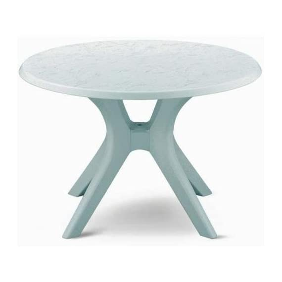 """46"""" Kettalux Plus Dining Table with Umbrella Hole Finish: White - Expertly crafted in Germany of durable high-impact resin (White) Warp-proof resin core and chip resistant edges High density protective coating makes it virtually maintenance free and very easy to clean - patio-tables, patio-furniture, patio - 41SFHB%2Bd7qL. SS570  -"""