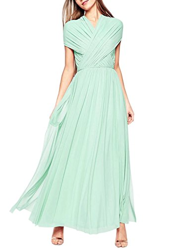 Sleeveless Women's Mint Fashion Dress Prom Wedding Bridesmaid Evening V Neck Gowns Hdx7qSdwr