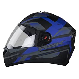 Steelbird R2K Full Face Graphics Helmet in Matt Finish with Plain Visor (Medium 580 MM, Matt Black/Blue)