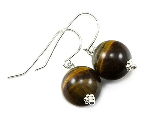 Sterling Silver Tiger's Eye Earrings Golden Yellow Round Drops Beaded Accents