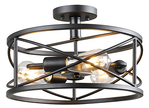 Semi Flush Mount Ceiling Light Vintage Industrial Chandelier Black Metal Retro Cage Hanging Fixture with 3 E26 Bulb Base for Hallway,Restaurant,Warehouse,Barn,Living Room, Kitchen