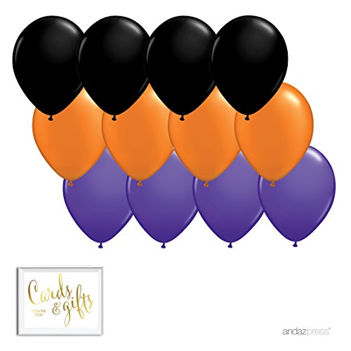 (Andaz Press 11-inch Latex Balloon Trio Party Kit with Gold Cards & Gifts Sign, Black, Orange and Purple, 12-pk, Halloween Office Classroom)