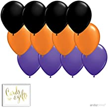 Andaz Press 11-inch Latex Balloon Trio Party Kit with Gold Cards & Gifts Sign, Black, Orange and Purple, 12-pk, Halloween Office Classroom Decorations