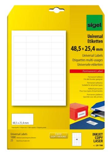 Sigel LA106 Universal-Etiketten, weiß, 48,5 x 25,4 mm, 1000 Etiketten = 25 Blatt