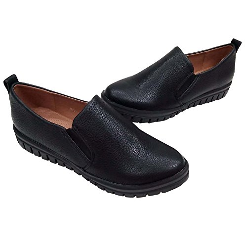Hengfeng Forma Plana Cuero de Mujeres Zapatos Casuales 6075-48 Negro