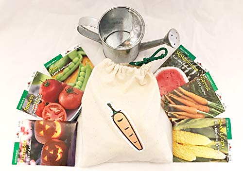Small Canvas Drawstring Garden Bag for Kids Adults & Teens Equipped with 6 Burpee Quality Seed Packets and Watering Tin - Fruits & Vegetables