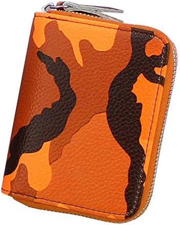 女性のジッパーRFIDカモフラージュカードホルダー本物のレザーショート財布のコインバッグ YZUEYT