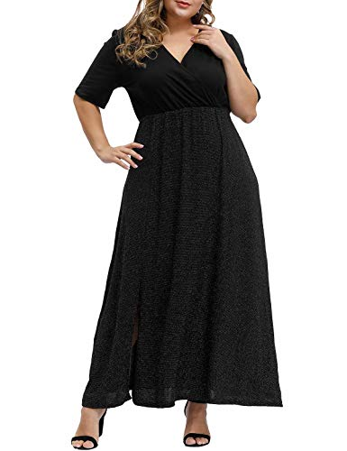 Allegrace Sequin Shiny Women's Plus Size Cocktail Dresses Wrap Night Out Flowy Side Split Maxi Dress Metallic Gold 1X (Plus Size New Years Eve Outfits 2016)