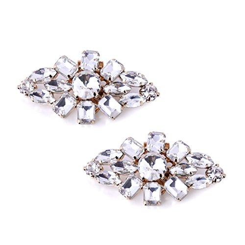 (ElegantPark AL Fashion Decorative Rhinestones Shoes Clutch Dress Hat Shoes Clips 2 Pcs Gold)