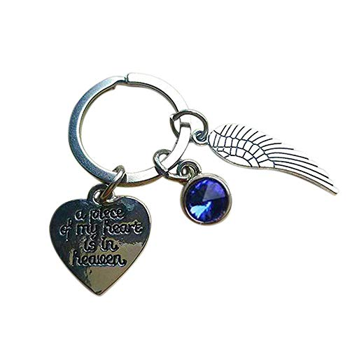 A Piece of My Heart Is in Heaven Memorial Key Chain Ring Wing Heart Sympathy Gift - Sapphire GlobalDeal