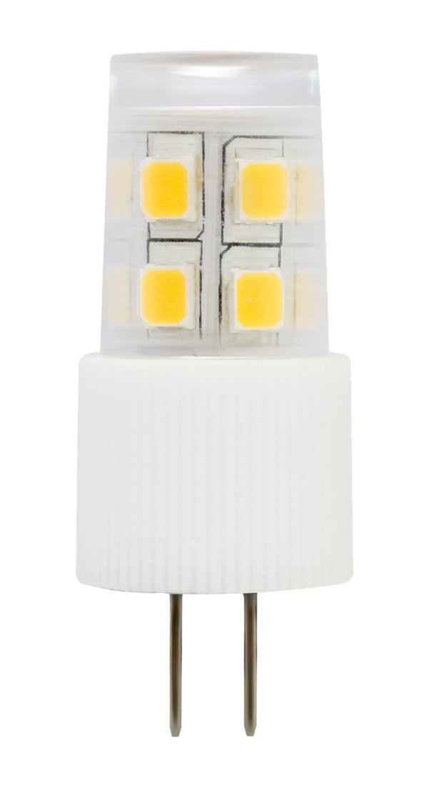 3-PACK LED Corn bulb G4 Bi-pin base 12V AC/DC 2W equivalent to 20W halogen warm white(2700K) light bulb with 13 SMD LEDs for pendant light, appliances, automotives and marine boats