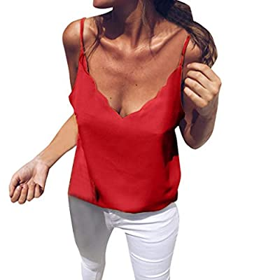 TWGONE Strappy Camisole Tank Top Women Summer Sexy V Neck Basic Shirts Blouse