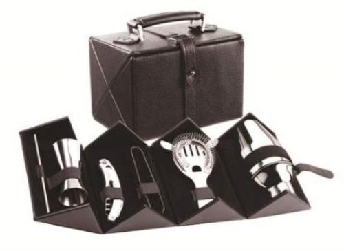 Cocktail Bar Set with Hard Leatherette Covered Carrying Case ()