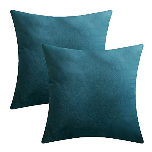 Velvet Silk Throw (Luxury Velvet Silk Throw Pillow Covers Decorative Pillowcases Cushion Cover Soft & Smooth Solid Various Choices 22 Colors (Blue-B5, 16 x 16 (Set of 2)))
