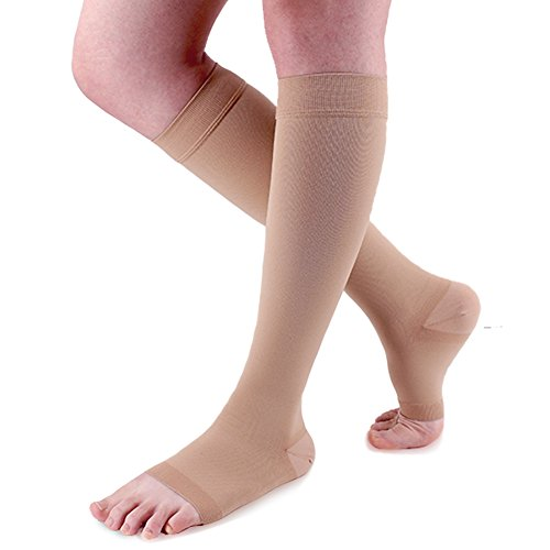 Ailaka 20-30 mmHg Knee High Open Toe Compression Calf Socks for Women and Men, Firm Support Graduated Varicose Veins Hosiery, Travel, Nurses, Pregnancy, Recovery (Beige, Medium) ()
